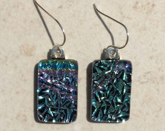 Dichroic Fused Glass Earrings  - Aqua Blue, Pink and Yellow Crinkle Earrings with Solid Sterling Ear Wires