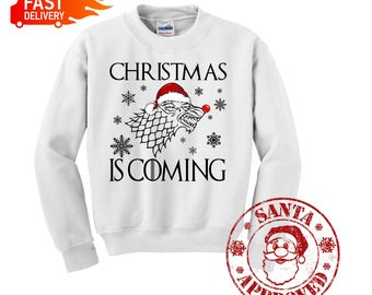 Christmas Is Coming, Game Of Thrones. Let it Snow Ugly Christmas Unisex Sweater Snow John sweatshirt Hoodie Christmas gift, Best Christmas