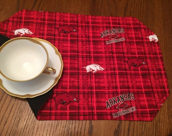 University of Arkansas Razorbacks Plaid Placemats Set of 4 Approximately 18.5 inches by 12.5 inches.