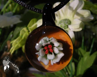 Lampworked Implosion Flower Glass Pendant