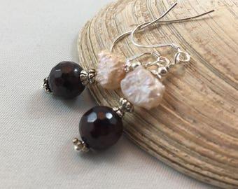January Birthstone Gift Garnet Fresh Water Pearl Dangle/Drop Earrings .925 Silver Ear Wires