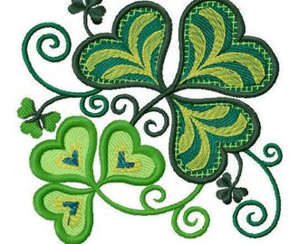 Jacobean Shamrock (3.87 x 3.74) Iron-on Patch - Iron on Patch - Embroidered Patch - Applique - MADE TO ORDER