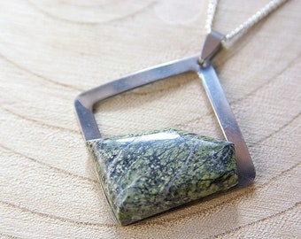 Green Jade Cabochon, Green Jade Pendant in Square Stainless Steel. Collection Design Square. Wisdom Stone, Lucky Stone, Jade Gemstones Jewel