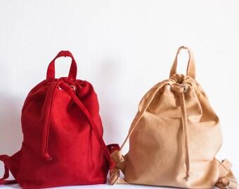 Faux suede drawstring handmade bag