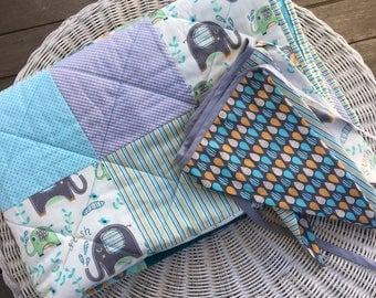 Baby Boy Cot Quilt & Bunting set, Green, grey and blue cot blanket, Quilted cot blanket, Elephant and stripe baby blanket