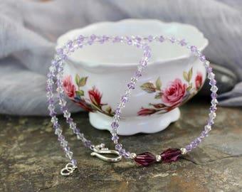"Necklace 19.75"", amethyst Swarovski polygon crystals, violet and clear Swarovski bicones, sterling twist beads, silver hook clasp, N030g"