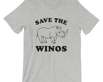 Save the Winos funny wine drinking rhino cute happy hour wino girls night ladies women wine lover gift t-shirt