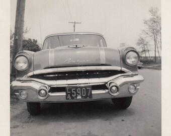 Vintage Photo Classic Old Pontiac Car Automobile Grill Antique Black & White Found Photograph Paper Art Ephemera Snapshot Mood Low Angle