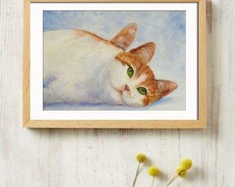 Tabby Cat Print, Orange Tabby Cat, Home Wall Decor, orange cat painting, watercolor painting, cat painting, cat art