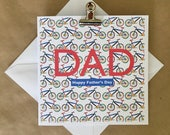 Father's Day card, cyclying print, bike, bicyle, Happy Father's Day, colour pop, Dad, Stepdad, Grandad, handmade