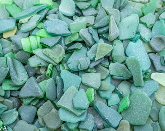 Scottish Beachcombed Sea Glass: Green/Green Blue Sea Worn Pieces for Crafts/Mosaics 100g