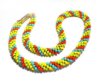 Blue, yellow, green and orange necklace