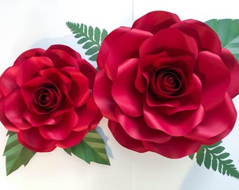 "SVG COMBO of Large and Medium Rose Paper Flower Template- DIY Cricut and Silhouette machines ready-Center Bud included (15-16"" and 19-21"")"