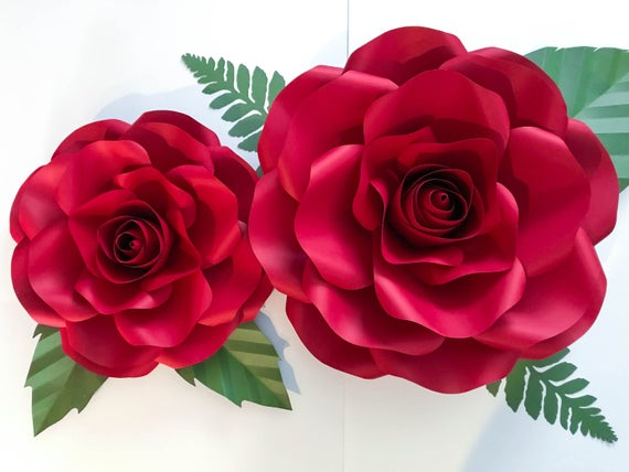 Svg Combo Of Large And Medium Rose Paper Flower Template Diy