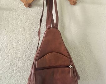 90s faux leather triangle backpack