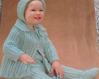 Vintage Patons No. 1181 Knitting Pattern Of Baby Pram Set