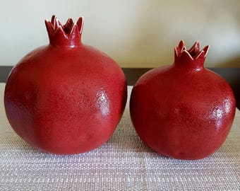 2pc Large Ceramic handmade pomegranate