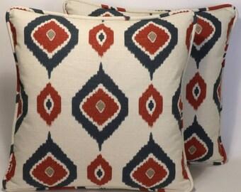 "Red Throw Pillows,Ikat Decorative Throw Pillows,Red,Blue Throw Pillows,2 18"" Ikat Ashuna Club Americana Throw Pillows w Forms,Home Decor"