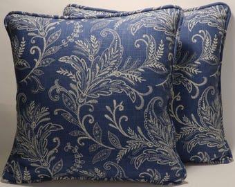 2 Blue Paisley Throw Pillows, Decorative Pillows,Accent Pillows, Home Decor ,2