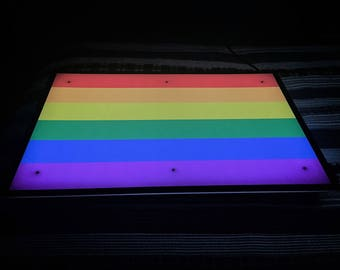 Gay Pride Light, Lighted Gay Pride Flag, Gay Pride Flag Light, Lighted Pride Flag, Pride Light, Gay Pride Sign, Lighted Gay Pride Wall Art
