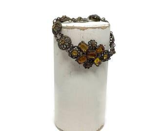 Victorian Czech Glass Filigree Bracelet for Repair or Repurpose, Gemstone Bracelet, 1940s Costume Jewelry, Vintage jewelry, Vintage Bracelet