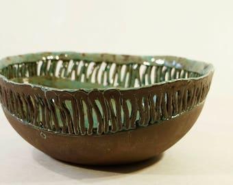 Ceramic Bowl , Decorativ Openwork Bowl , Art Ceramics , Handmade Pottery , Ceramic Fuit Bowl , Pottery , Unique ,