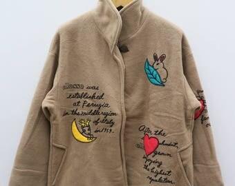 Vintage ELLESSE Polartec Designer Brown Jacket Size M