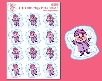 Snow Angel Oinkers  - Snow Angels Planner Stickers - Snow Day Stickers - Snow - Winter Planner Stickers - Holiday Stickers - [Holiday 1-10]
