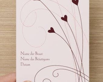Individual wedding card cards red tendril