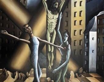 CRUCIFIXION - Painting sacred scene