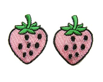 Pink Strawberry Patches Applique Embroidered Iron on Patch