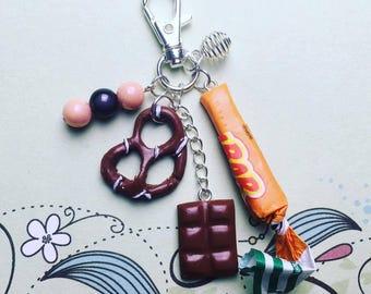Greed, caramel, chocolate, pretzel - polymer clay keychain