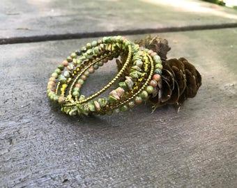Unakite memory wire wrap bracelet
