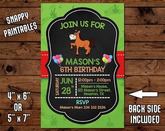 Horse Birthday Invitation, Birthday Invite, Party Invite, Printable, Digital File - 53