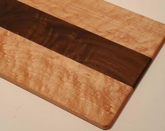 "Figured Maple and Walnut Cheese Board / Serving Board / Cutting Board / Sushi Board 7"" x 14"""