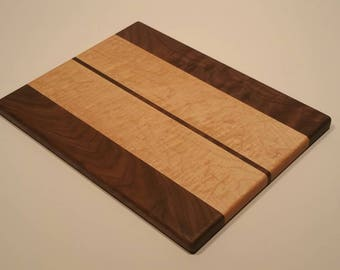 """Figured Maple and Walnut and Wood Serving Board / Cheese Board / Cutting Board 10"""" x 13"""""""