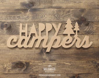 Happy Campers with Trees Cutout Sign
