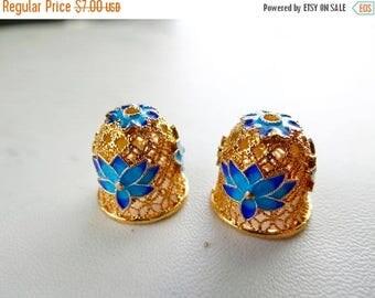 65% off sale--- 24k gold plated, blue enamel Bead Cap/15x14mm
