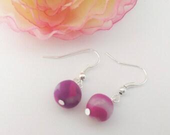 Purple fimo bead earrings