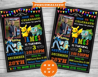 Pokemon Invitation, Pokemon Birthday Invitation, Pokemon Birthday Card Pikachu, Pokemon Birthday Card, Pokemon Party, Pokemon GO Invitation