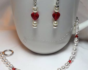 Hearts and Pearls Swarovski Pearl and Crystal Bracelet & Earrings Set