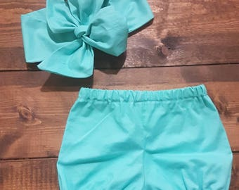 Pool bloomers Outfit Headwrap Bloomer Set Pool Headband Baby Bubble Shorts blue Shorts