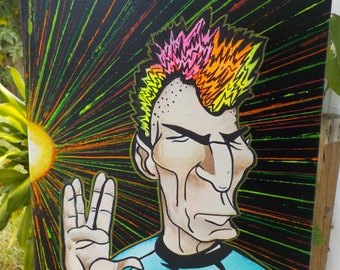 Punk Rock Spock star trek pop art hand painted canvas by PopartazziaStudio