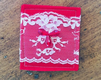 Red felt, lace and beads hand made brooch