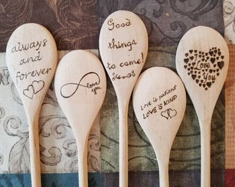 Custom Woodburned 14 inch Wooden Cooking Spoons for Wedding, Showers, or Anniversary Favors
