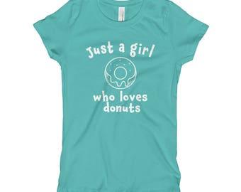 Donut T-Shirt - Donut Shirt - Funny Donut Shirt - Just a Girl who Loves Donuts - Doughnut Shirt - Girls Donut shirt -Girl's Donut T-Shirt