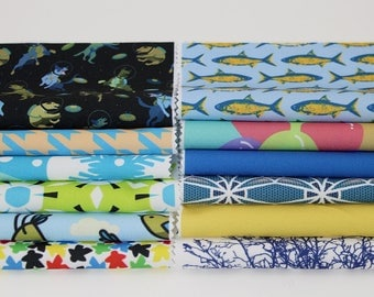"""8""""x8"""" Fabric Pieces, Qty: 12, 100% Polyester, Sewing Fabric, Craft Fabric, 8x8in Sq Fabric, Assorted Prints & Solids, Fabric Swatch, (CS103)"""