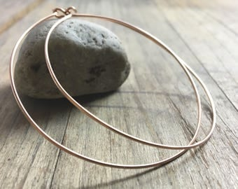 Large Rose Gold Hoop Earrings // Classic Thin Hoops // 90's Style // Large Hoop Earrings // Rose Gold Filled // Thin Light Weight