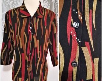 Unique Multicolor Red Yellow Mustard Orange Black Womens Blouse 90s 80s 70s Style