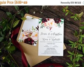 SALE Printable Wedding Invitation, Floral Wedding Invites, Invitation Template